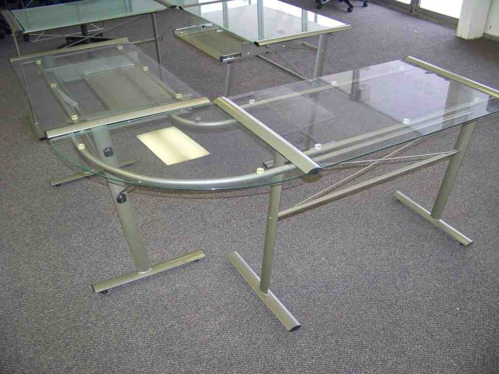 Glass And Metal Corner Computer Desk