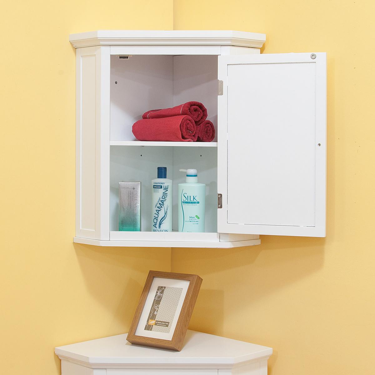 White corner cabinet bathroom