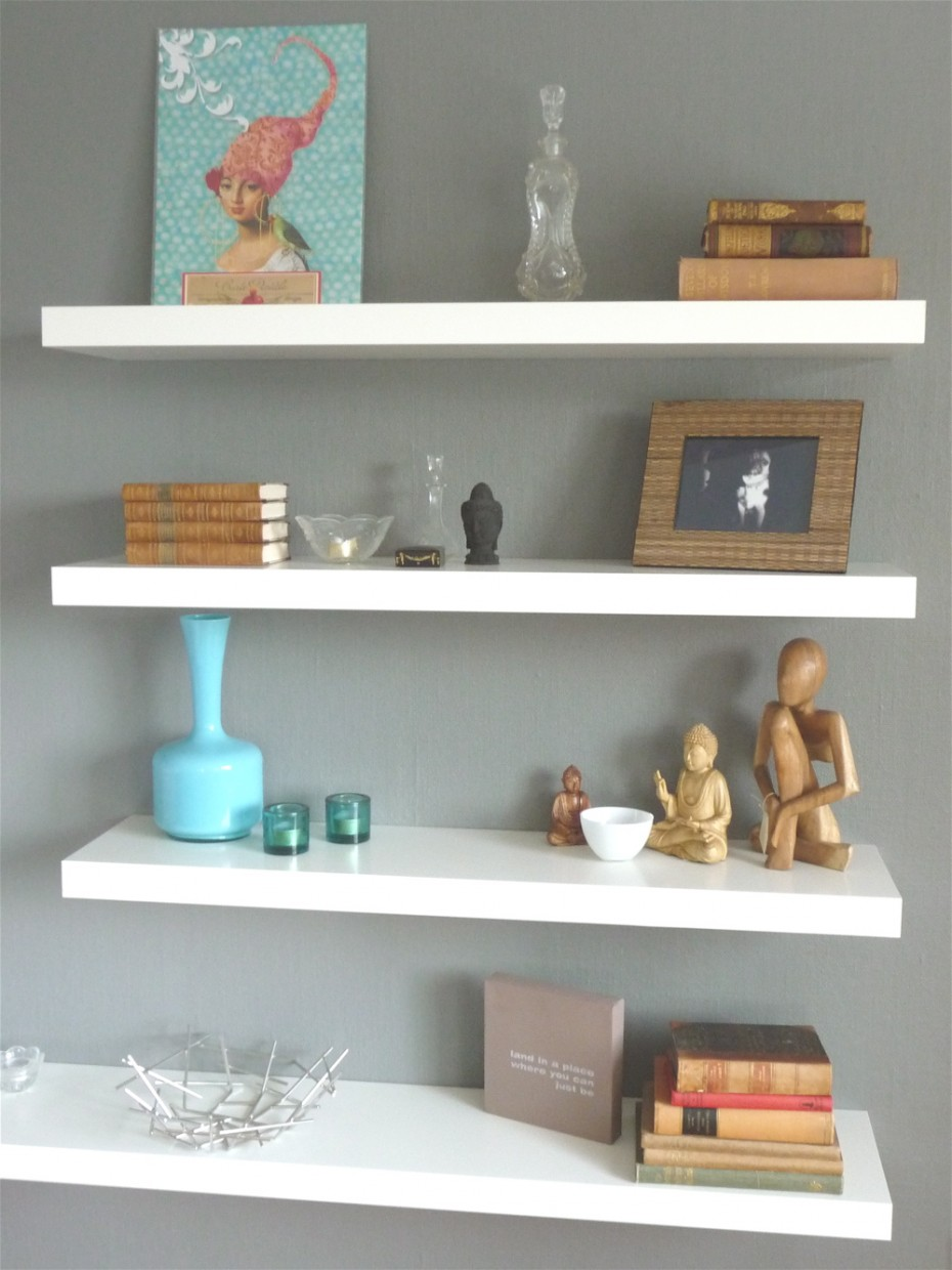 Shelves White Walls And Entry Ways: White Wood Wall Shelves