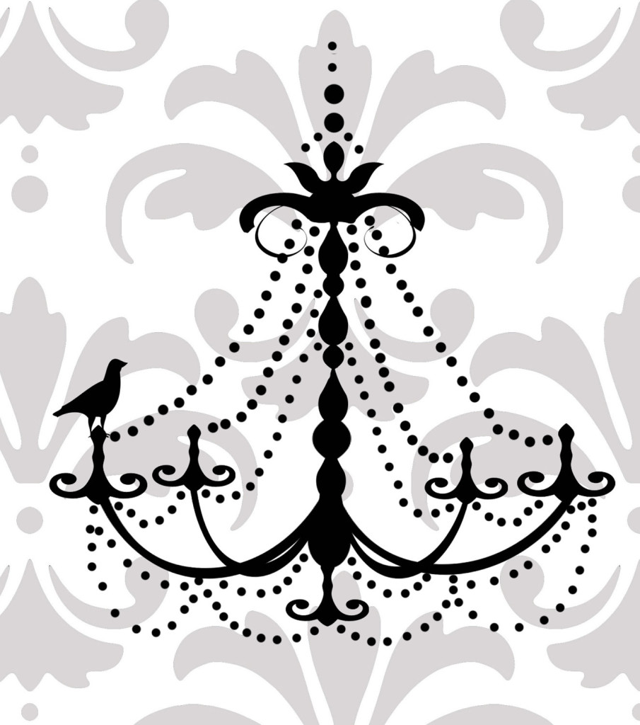 Black Chandelier Wall Decal