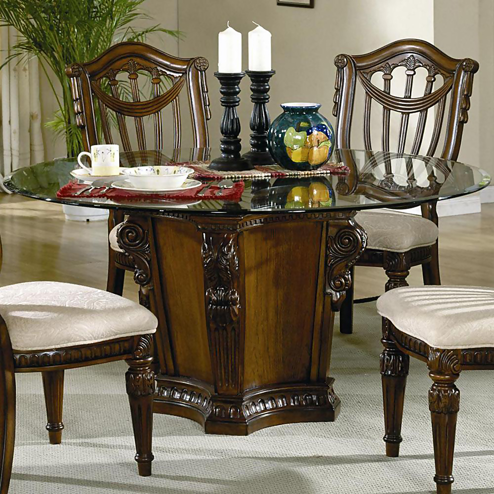 Glass top dining tables with wood base decor ideasdecor for Best dining tables 2015