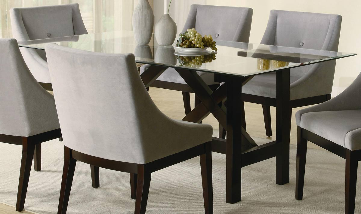 Rectangle glass top dining table decor ideasdecor ideas for Rectangle dining table