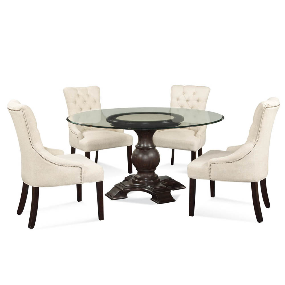 round dining table for 6 glass top the image kid has it. Black Bedroom Furniture Sets. Home Design Ideas