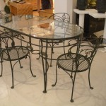 Wrought Iron Glass Top Dining Table