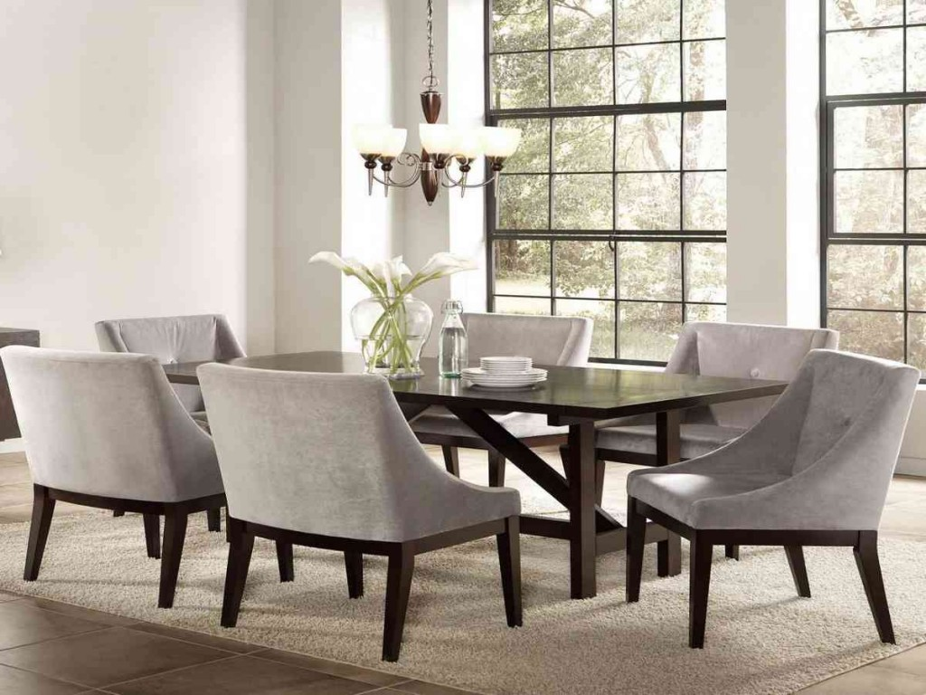 Dining room sets with upholstered chairs decor for Photos of dining room sets