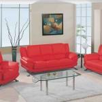 Red Leather Living Room Furniture Set