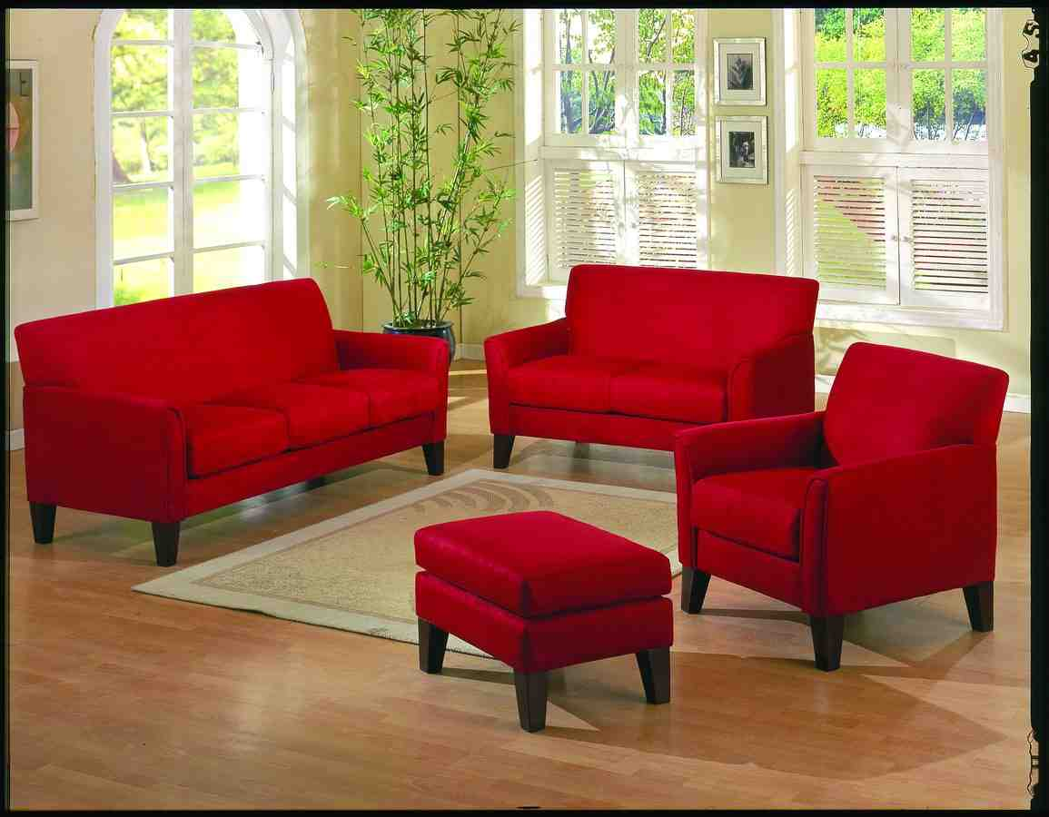 Red leather living room set decor ideasdecor ideas for Red living room furniture
