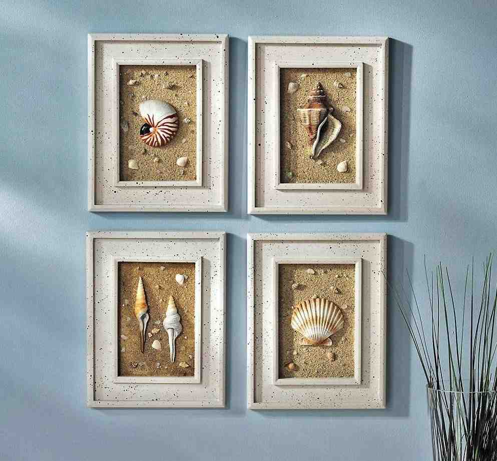 Seashell wall decor bathroom decor ideasdecor ideas for What kind of paint to use on kitchen cabinets for bar themed wall art