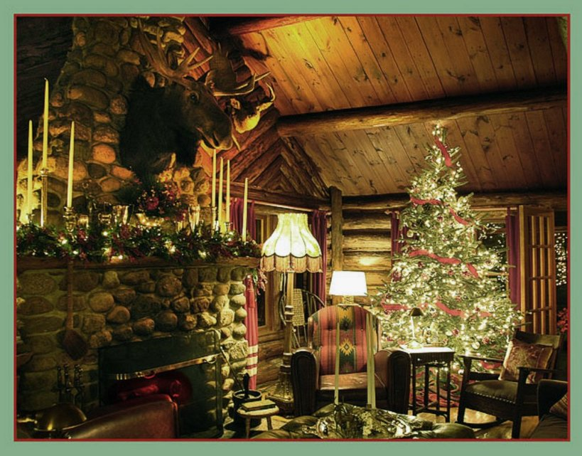 Log Cabin Christmas Decorations