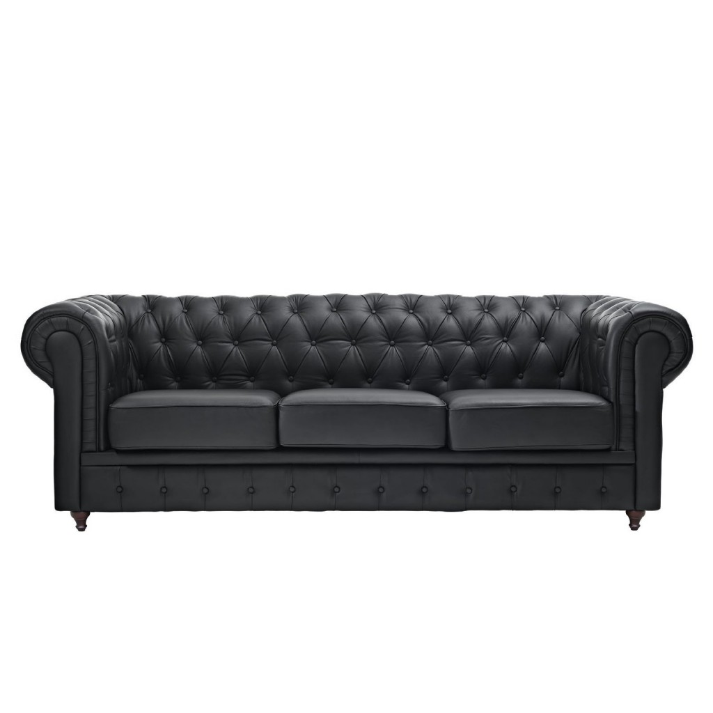 Classic Scroll Arm Tufted Button Bonded Leather Chesterfield Style Sofa