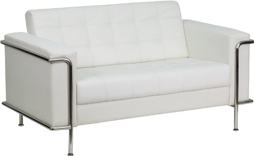 HERCULES Lesley Series Contemporary White Leather Loveseat