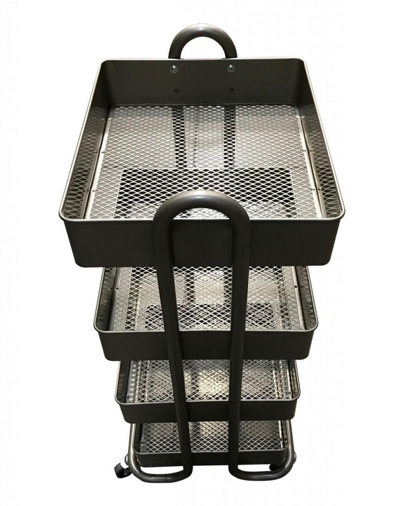 4 Tier Rolling Cart Metal Bins