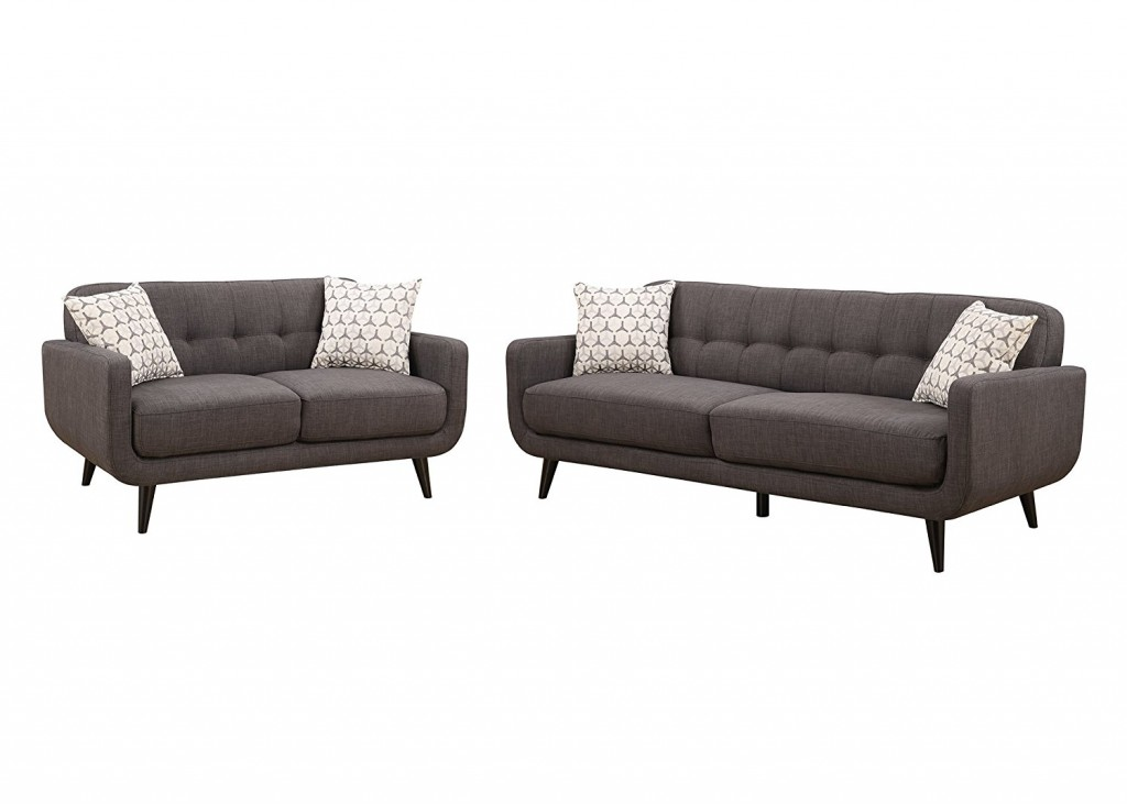 Christies Home Living 2 Piece Crystal Charcoal Sofa And Love Seat Fabric Room Set