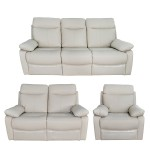 Christies Home Living 3 Piece Ryker Taupe Leather Contemporary Sofa