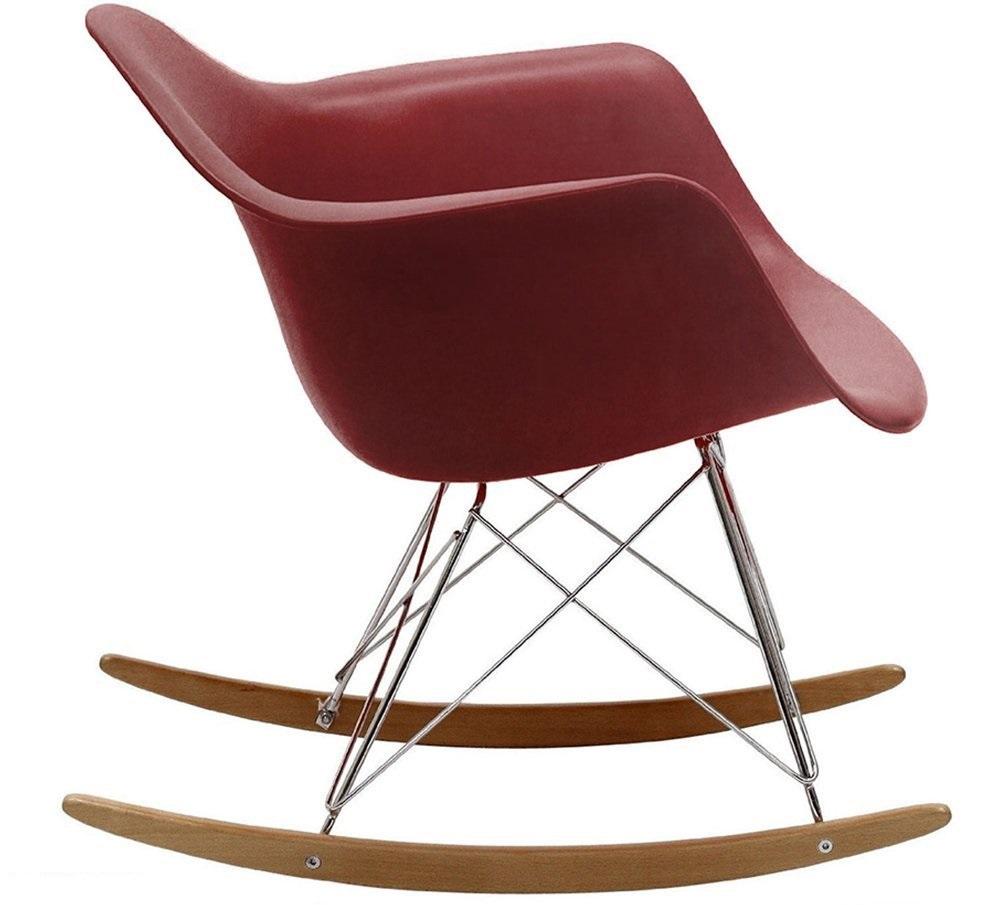 Eames Style Molded Modern Plastic Armchair Rocker