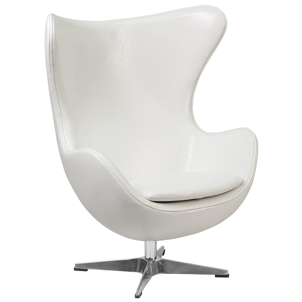 Flash Furniture Melrose White Leather Egg Chair