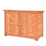 Goplus Outdoor Wooden Shed Lockers Cabinet