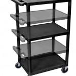 Luxor LPDUOE B Multipurpose 3 Shelves AV Utility Cart
