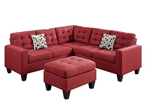 Modern Contemporary Polyfiber Fabric Modular Sectional Sofa And Ottoman Set