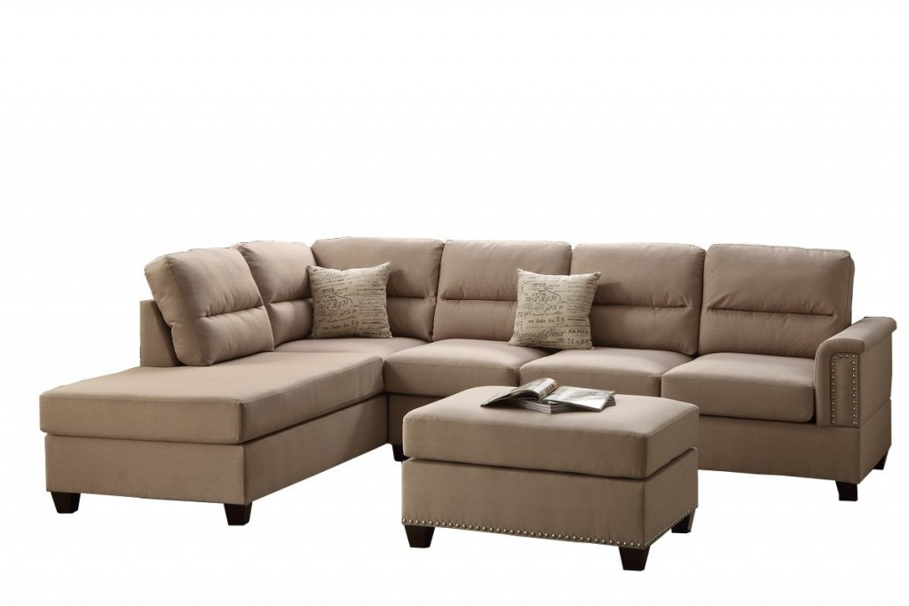 Poundex F7614 Bobkona Toffy Chaise Sectional With Ottoman Set