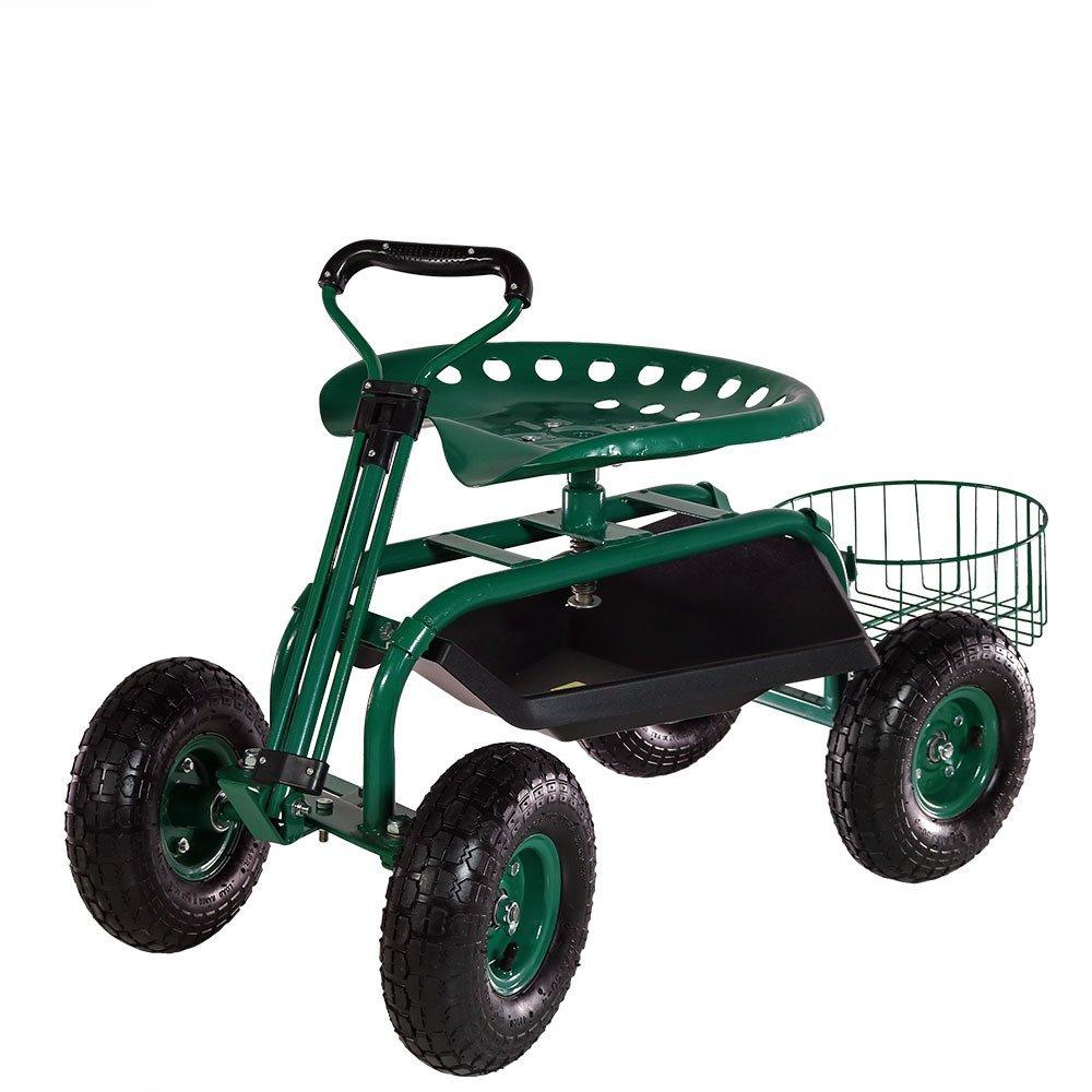 Sunnydaze Green Rolling Garden Cart