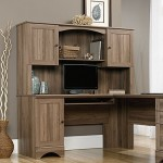 Sauder Harbor View Computer Desk With Hutch Salt Oak
