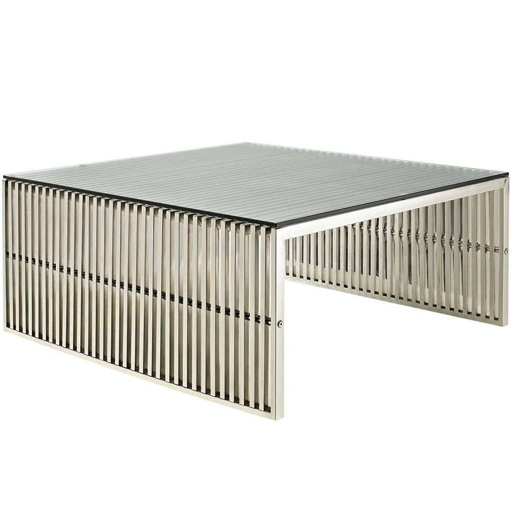 Modway Gridiron Stainless Steel Coffee Table