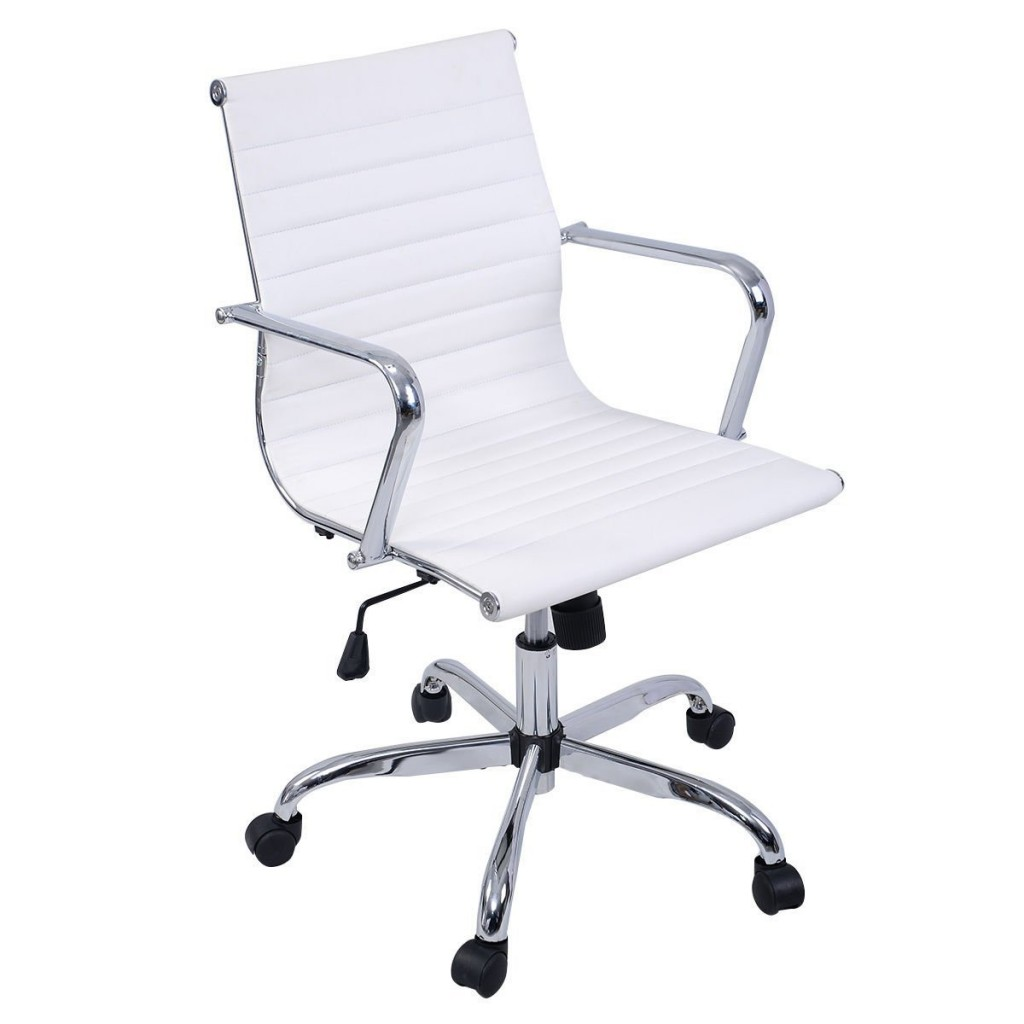 Giantex Modern PU Leather Ergonomic Mid Back Office Chair