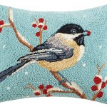 Peking Handicraft Chickadee Hook Wool Lumbar Pillow