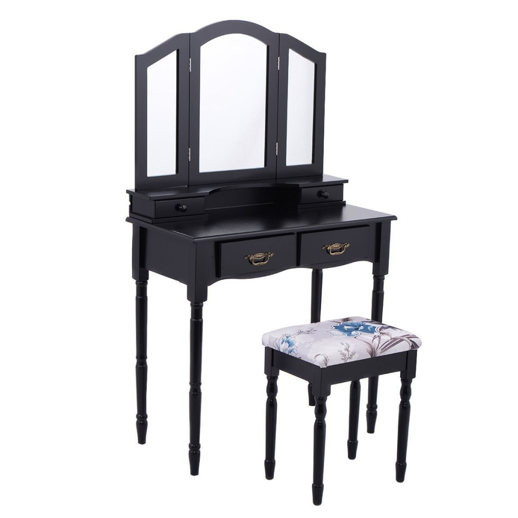 Black Vanity Table With Mirror