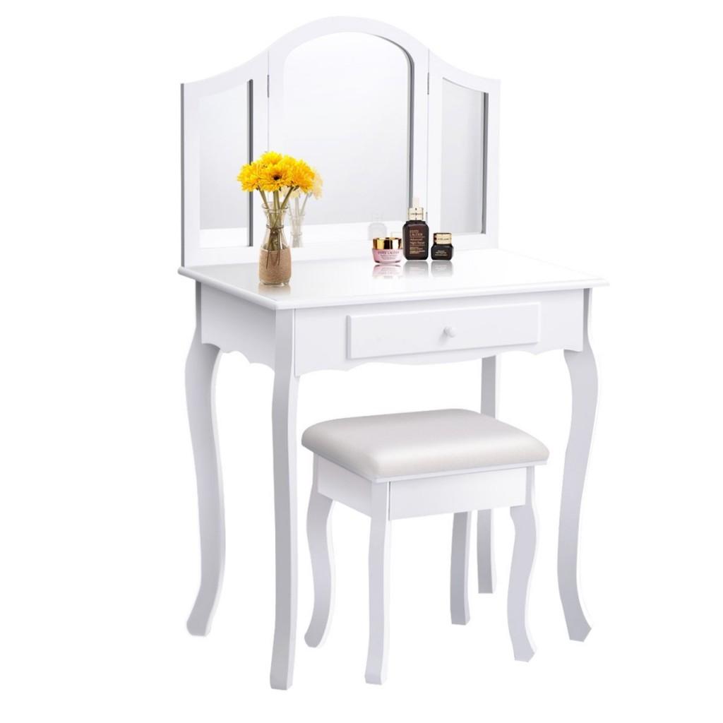 White Vanity Set With Mirror