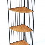 4D Concepts 3 Tier Corner Bookcase, Wicker Metal