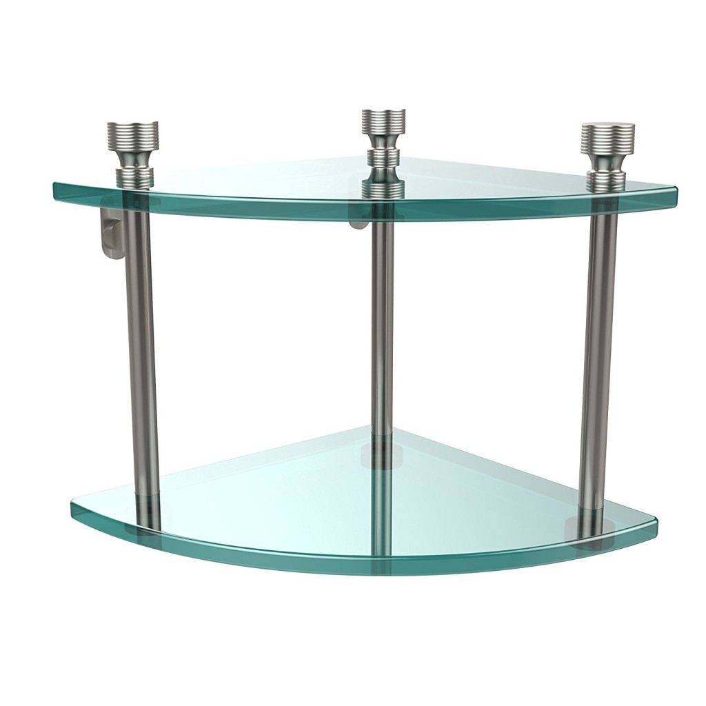 Allied Brass FT 3 SN Double Corner Glass Shelf Satin Nickel