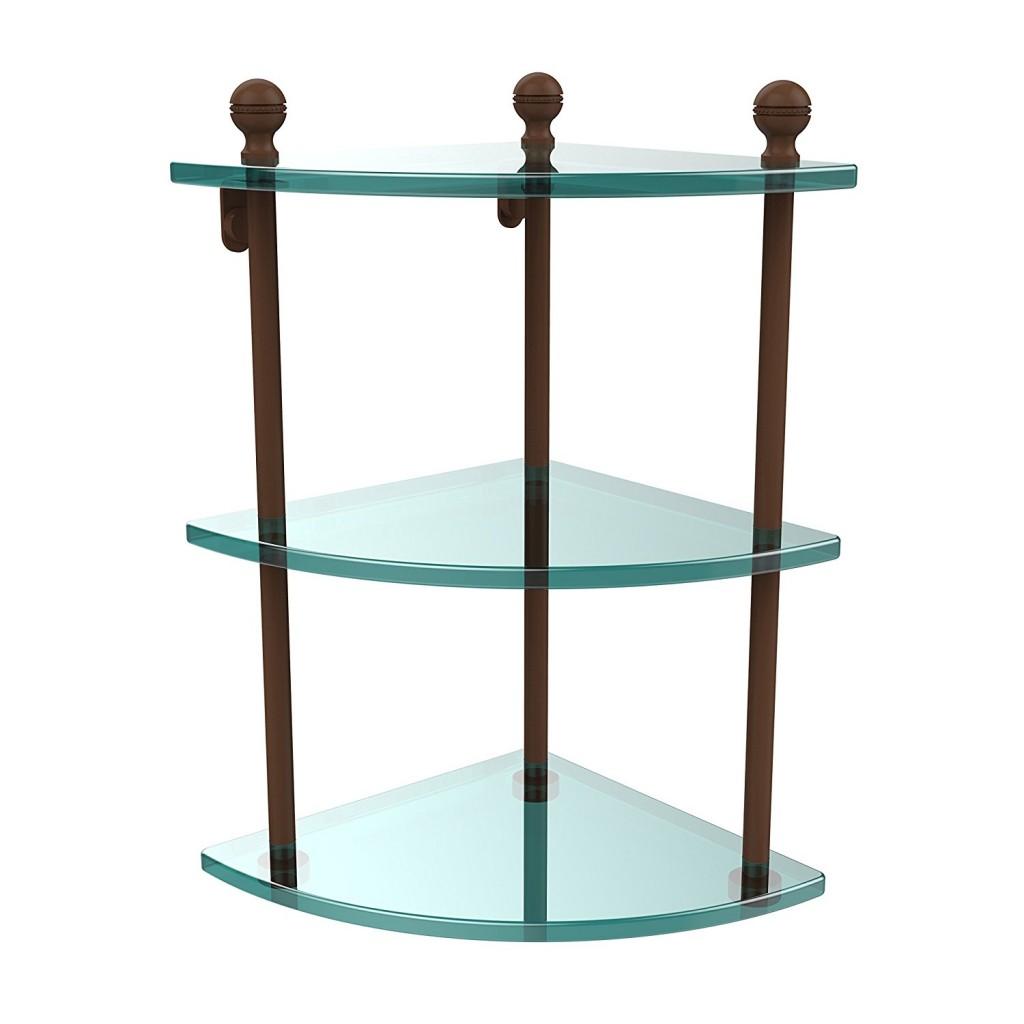 Allied Brass MA 6 ABZ Triple Corner Glass Shelf Antique Bronze