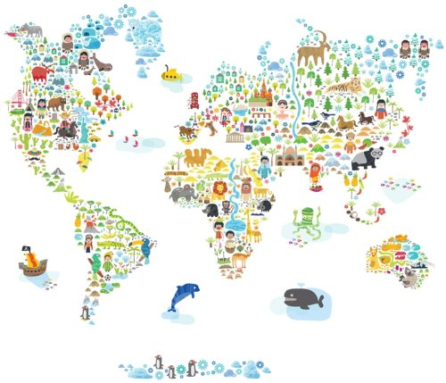 Pop And Lolli Extra Large Iconic Cultural World Map Wall Decal