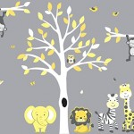 Safari Nursery Wall Decal In Yellow And Gray With Expedition Animal Stickers