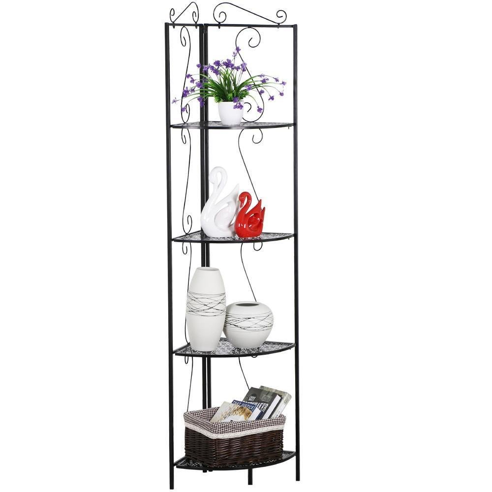 World Pride Black 4 Tier Metal Art Corner Stand Shelf