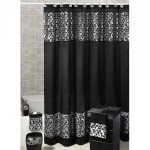 Black and White Fabric Shower Curtain