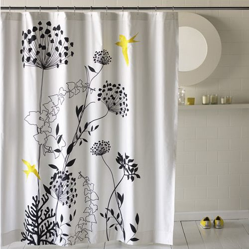 Black-and-White-Flower-Shower-Curtain Ideas For Painting My Kitchen on ideas for painting my office, faux painting ideas for kitchen, ideas for painting my room, top american essayists modern kitchen, ideas for painting my bedroom, ideas for decorating my kitchen,