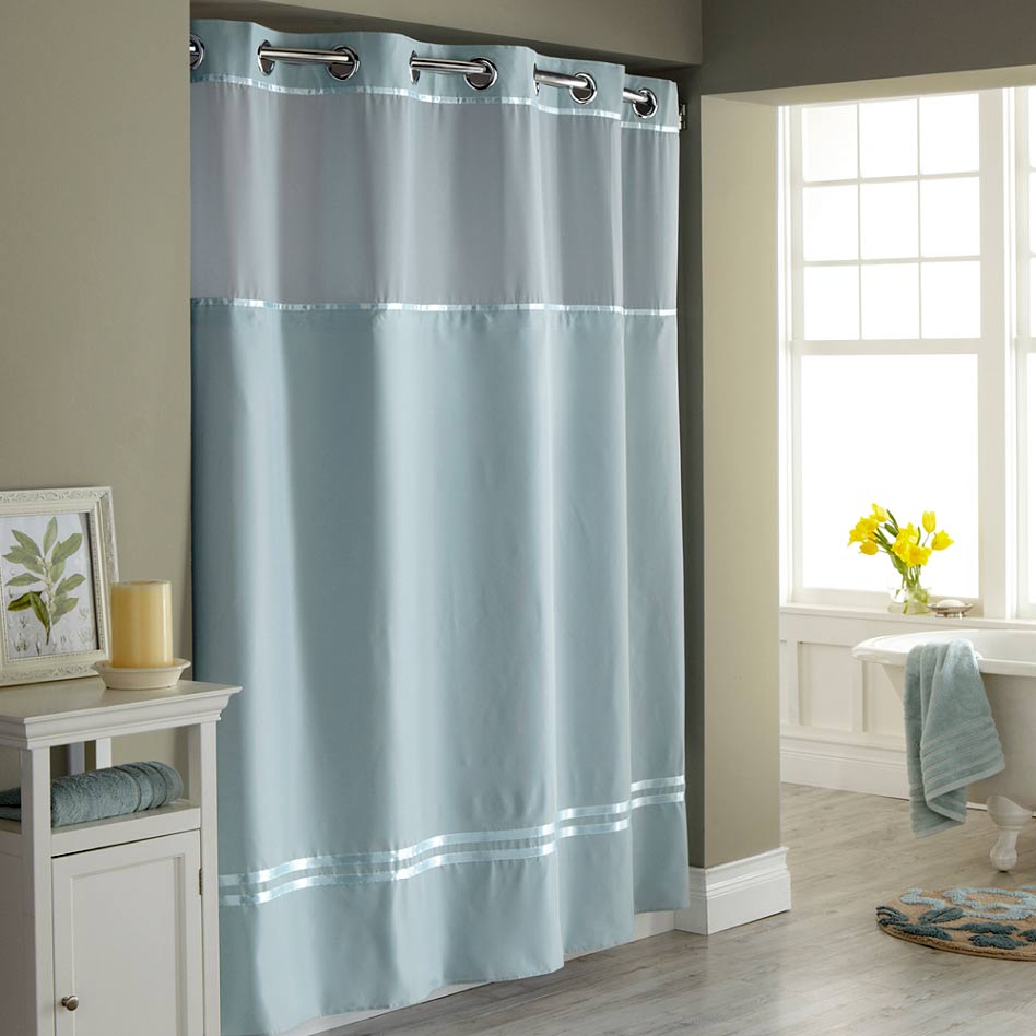 Hookless Shower Curtain with Snap Liner