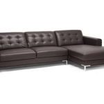 Brown Leather Contemporary Sofa