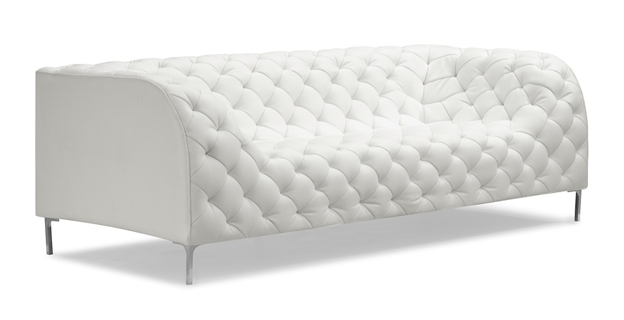 White Leather Contemporary Sofa