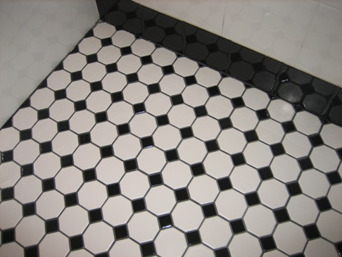 Black and White Bathroom Floor Tiles