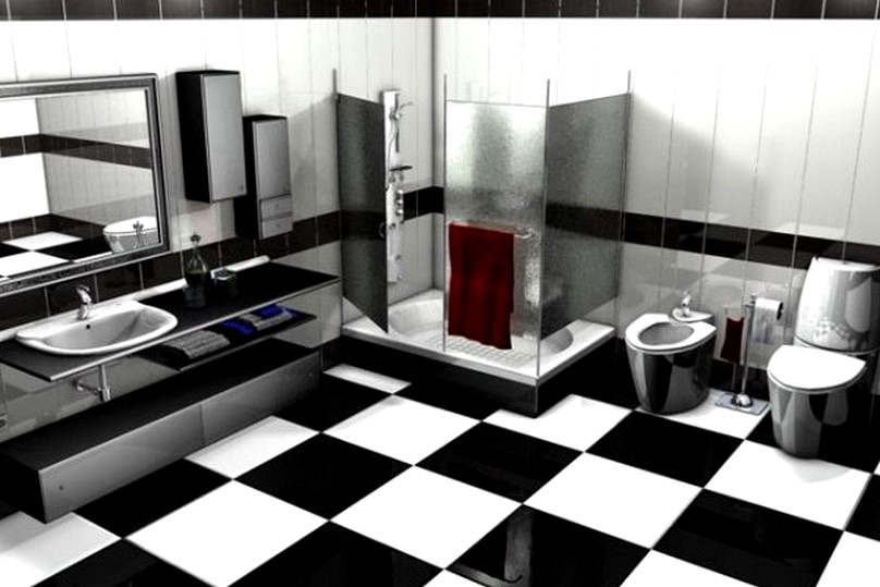 Black and White Bathroom Tile Designs