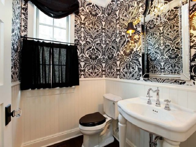 Black and White Bathroom Wallpaper