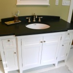 White Bathroom Vanity with Black Top