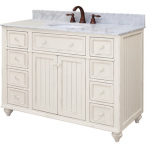 White Bathroom Vanity with Marble Tops
