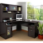 Small Black Corner Desk with Hutch
