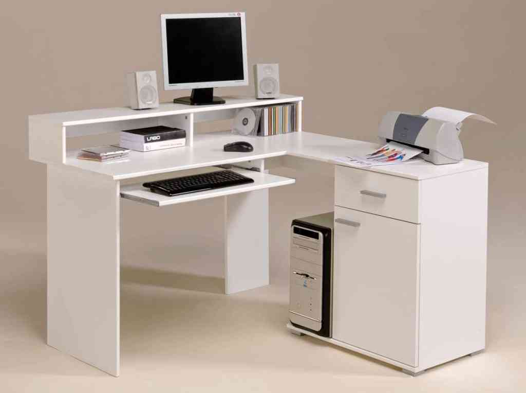 White Corner Desk with Shelves and Drawers