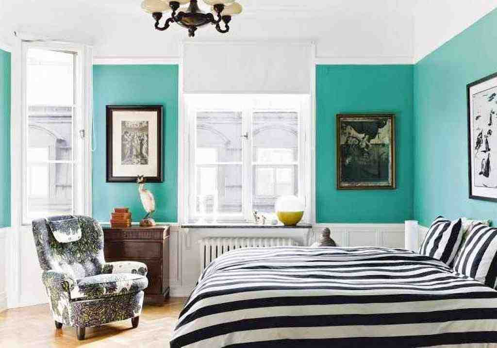 White and Teal Bedroom